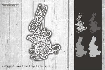 Rabbit #14 Vector SVG 3D Layered, Eps 10
