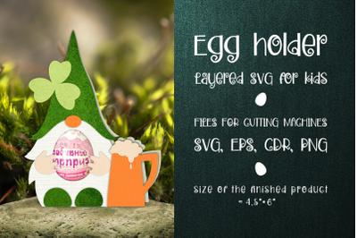 Saint Patrick's Gnome - Chocolate Egg Holder template SVG
