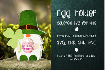 Patricks Day Gnome - Chocolate Egg Holder template SVG