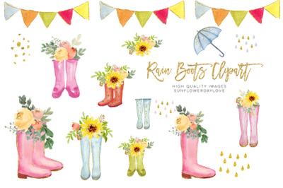 Spring Rain Boot with Flowers clipart, Sunflowers Boots Watercolor