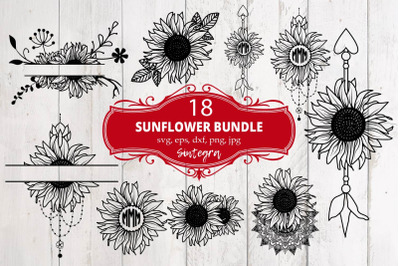 Sunflower 18 Monograms Bundle SVG File