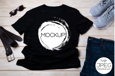 Mens T-shirt mockup with running shoes and leather belt.