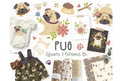 Cute Pugs - kids cliparts set
