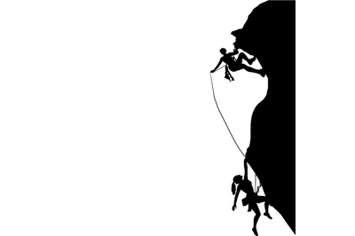 Man and woman climbing black silhouette, activity safety
