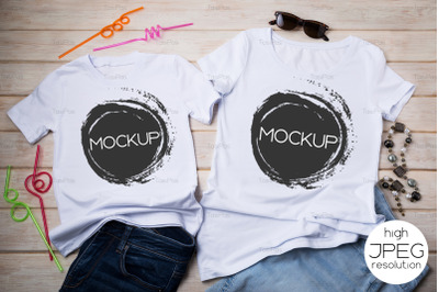 Family look T-shirt mockup with drinking straws and jeans.