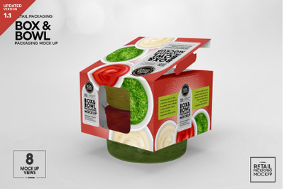 Box and Bowl Packaging Mockup