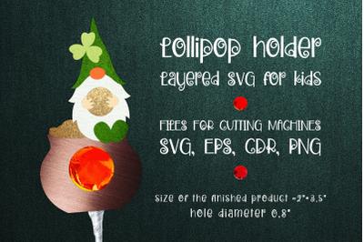 Patricks Day Gnome - Lollipop Holder template SVG