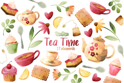Tea Time Watercolor Cliparts