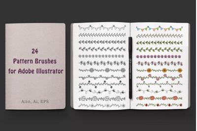 Floral Pattern Brushes for Adobe Illustrator