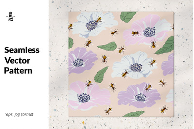 Busy bees and flowers patten