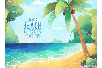 Watercolor Beach Scene Clipart