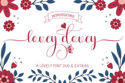 Lovey dovey Font Duo Plus Extras