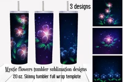 Mystic flowers tumbler sublimation designs. Floral png files