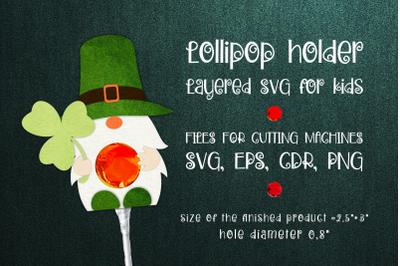 Patrick's Day Gnome - Lollipop Holder template SVG