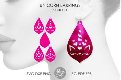 Unicorn earrings, SVG, laser cut files