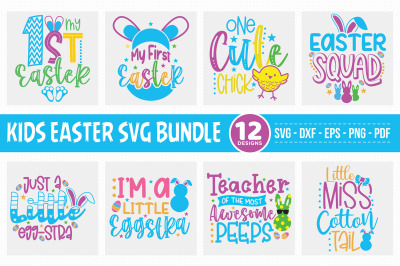 Kids Easter SVG Bundle, 12 Easter SVG Cut Files