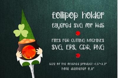 St. Patrick's Gnome - Lollipop Holder template SVG