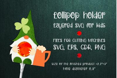 St. Patricks Gnome - Lollipop Holder template SVG