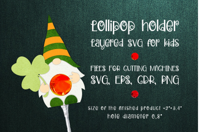 Saint Patrick's Gnome - Lollipop Holder template SVG