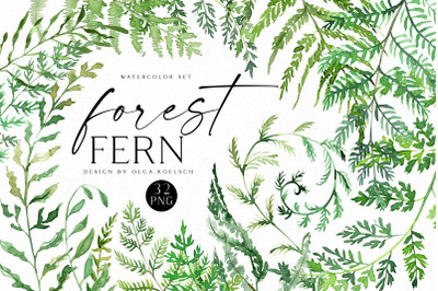 Watercolor Fern Clipart, Greenery clipart for wedding invitation