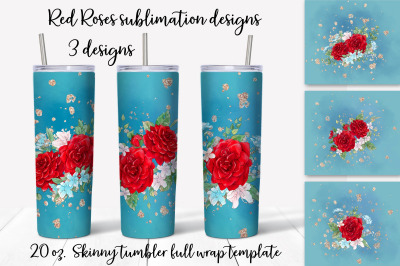 Red Roses sublimation design. Skinny tumbler wrap design.