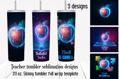 Teacher tumbler sublimation designs. Full wrap png templates