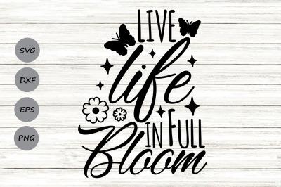 Live Life In Full Bloom Svg, Spring Svg, Hello Spring Svg, Bloom Svg.