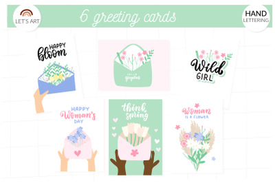 Spring wildflowers greeting cards. Happy womans day hand lettering.