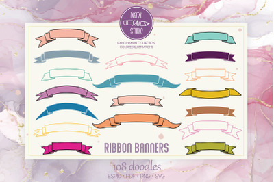 Ribbon Banners Colored | Hand Drawn Decorative Elements | Scroll