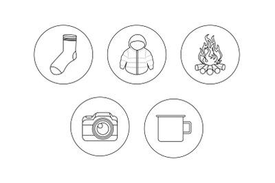 Camping camera outline Icon Bundle