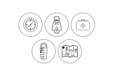 Camping map outline Icon Bundle