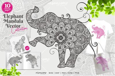 Elephant Mandala Vector Coloring Book