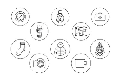 camping ten outline Icon Bundle