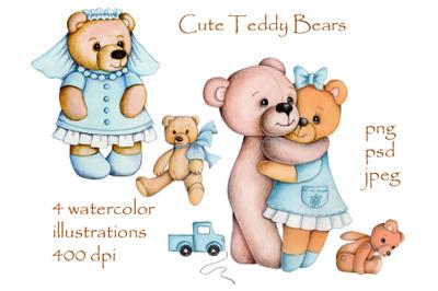 Cute Teddy bears with toys.