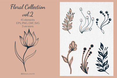 Flower SVG clipart, greenery clipart SVG for wedding card