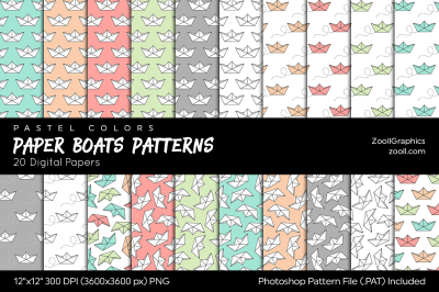 Paper Boats Pastel Digital Papers