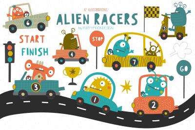 Alien racers clipart set