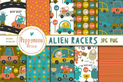 Alien Racers paper set