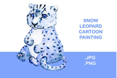 Snow leopard cub watercolor painting isolated illustration