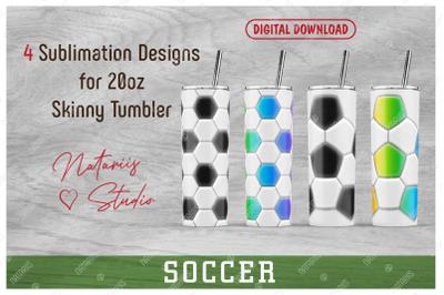 4 Soccer - Football Patterns for 20oz SKINNY TUMBLER.