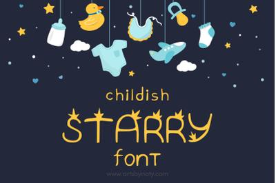 Childish Starry Handwritten Font.