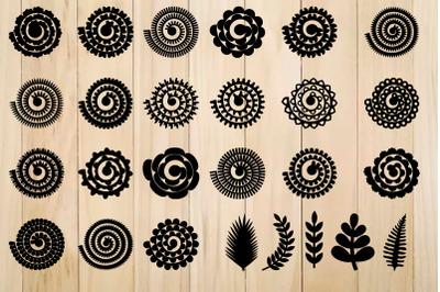 Rolled Paper Flower Templates SVG, 3D Rose SVG