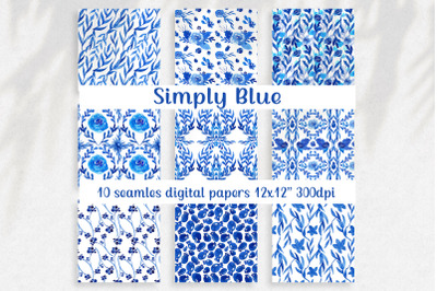 Watercolor floral digital paper pack, Seamless pattern with simple blu