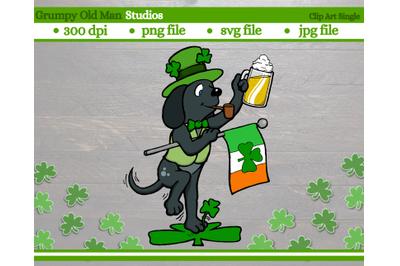 Saint Patrick's Day dog with irish flag