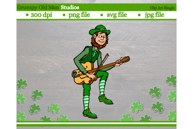 Musical Leprechaun playing a string instrument | Shamrock
