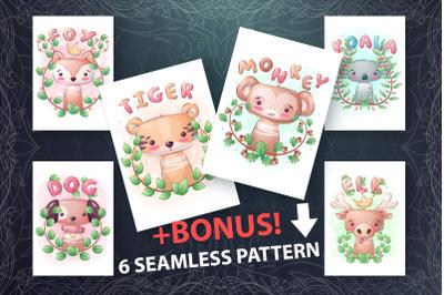 Set cute animal - seamless pattern
