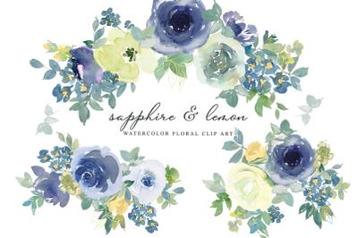 Sapphire & Lemon Watercolor Floral Clip Art