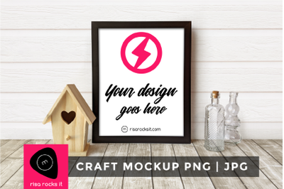 Picture Frame with Birdhouse | PNG + JPG Mock Up