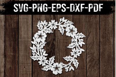 Floral Wreath Paper Cut Template, Spring Decor SVG, PDF, DXF