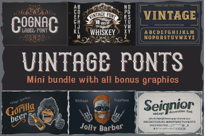 Vintage fonts bundle + all bonus